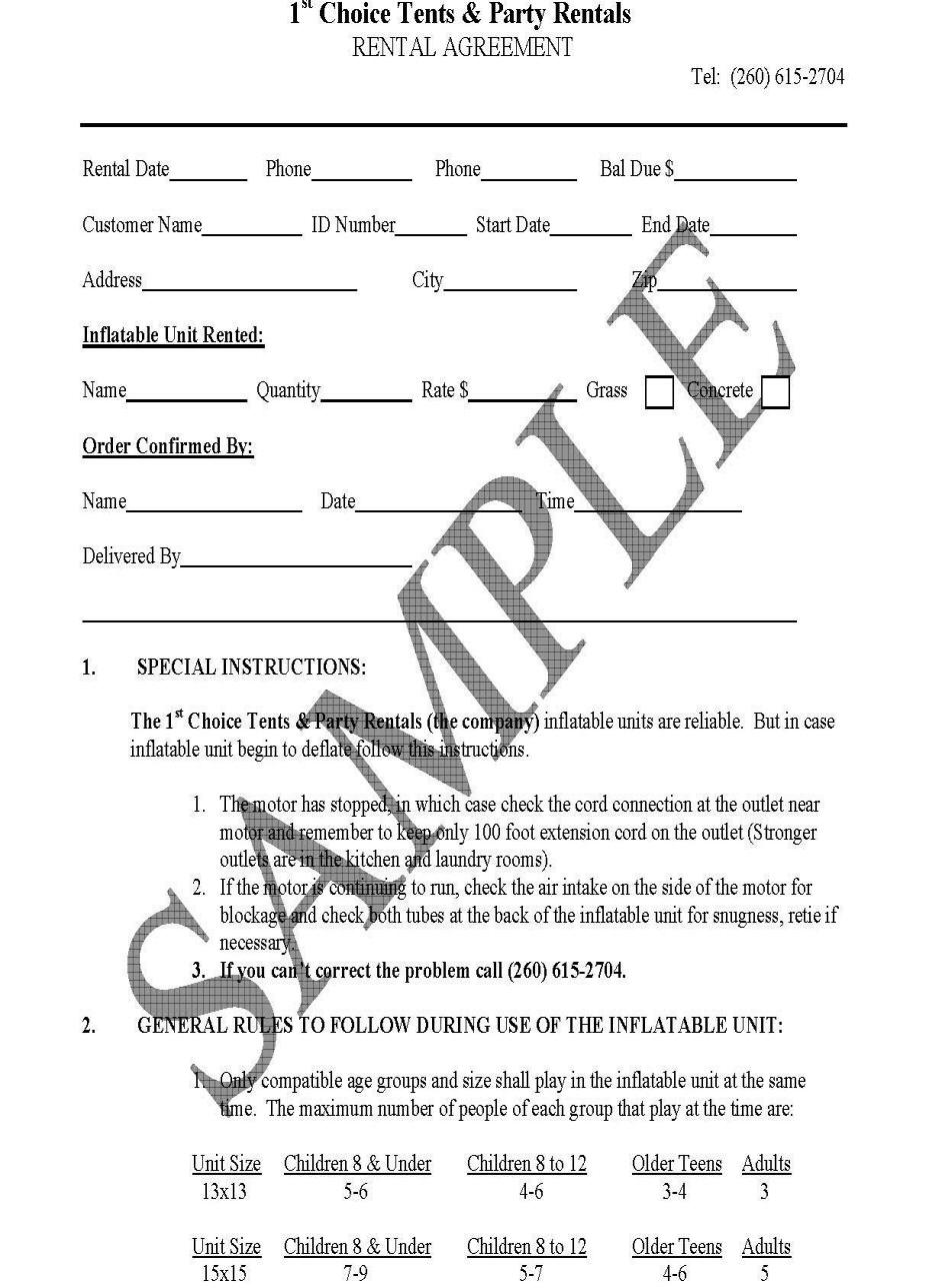 Rental agreement sample free printable documents for Generic terms and conditions template